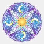 Mandala celestial pegatina redonda