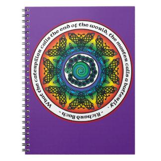 Mandala céltica de la mariposa del arco iris libreta espiral
