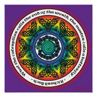 Mandala céltica de la mariposa del arco iris perfect poster