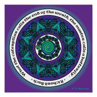 Mandala céltica de la mariposa perfect poster
