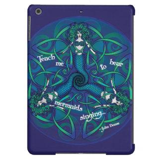 Mandala céltica de la sirena en azul y verde funda iPad air