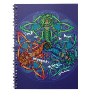 Mandala céltica de la sirena libro de apuntes con espiral