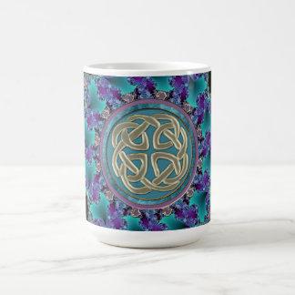 Mandala céltica del fractal taza de café