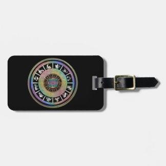 Mandala céltica del zodiaco del arco iris etiquetas bolsa