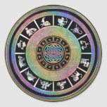 Mandala céltica del zodiaco del arco iris pegatina redonda
