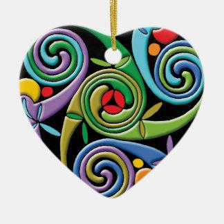 Mandala céltica hermosa con remolinos coloridos adorno de cerámica en forma de corazón