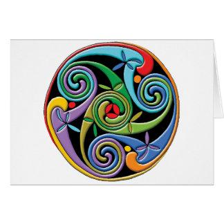 Mandala céltica hermosa con remolinos coloridos tarjeta pequeña
