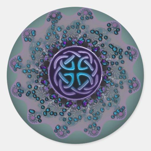 Mandala céltica Jeweled del fractal Pegatina Redonda