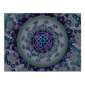 Mandala céltica Jeweled del fractal Tarjetas Postales