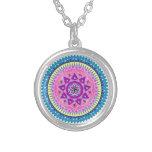 Mandala chain round pendant necklace
