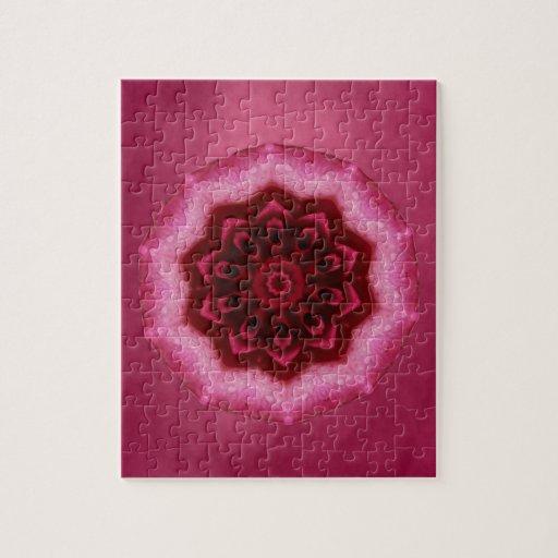 Mandala color de rosa rompecabeza con fotos