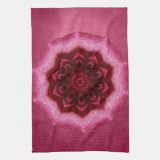 Mandala color de rosa toalla de cocina