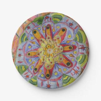 Mandala Colorful Art Custom Paper Plates 7 in