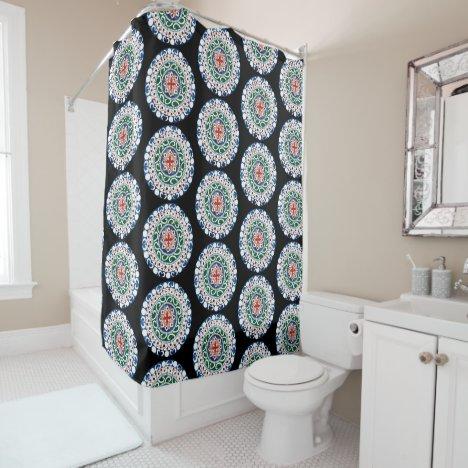 Mandala colorful black bg shower curtain
