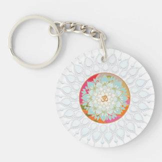 Mandala colorida Chakra de la flor de Lotus del Llavero Redondo Acrílico A Doble Cara