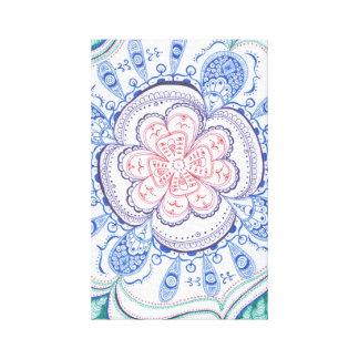 Mandala colorida en lona lona envuelta para galerias