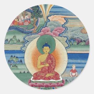 Mandala completa pintada Bhutanese Pegatina Redonda