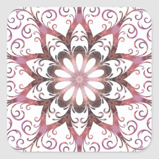 Mandala cristalina curativa afiligranada de pegatina cuadrada