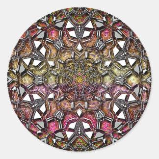Mandala cristalina metálica pegatina redonda