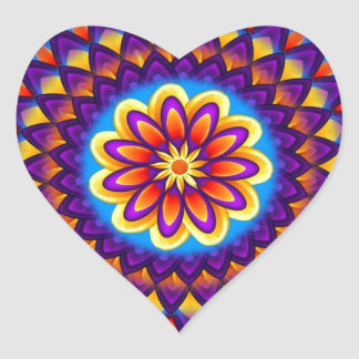 Mandala Dahlia Heart Sticker