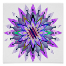 Mandala Damask Lotus Flower Art Elegant Poster