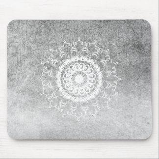Mandala Damask Watercolor Yoga Black and White Mouse Pad
