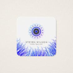 Mandala Damask Yoga Holistic Meditation Massage Square Business Card at Zazzle