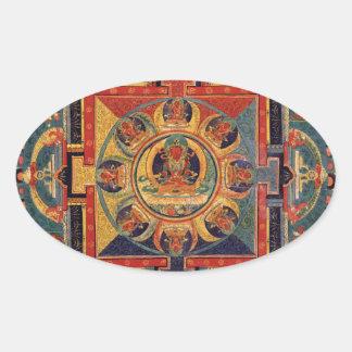 Mandala de Amitayus. Escuela tibetana del siglo Pegatina Ovalada