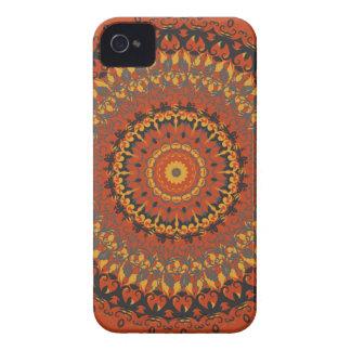 Mandala de Brown de las hojas de otoño iPhone 4 Carcasas