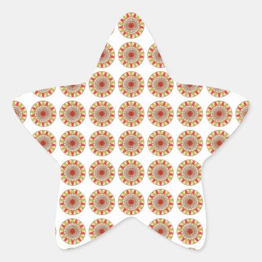 Mandala de Chakra del GIRASOL de la frontera del o Calcomanías Forma De Estrella Personalizadas