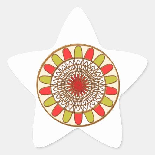 Mandala de Chakra del GIRASOL de la frontera del Pegatina Forma De Estrella Personalizadas
