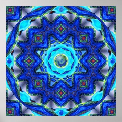 Mandala de cristal abstracta del caleidoscopio posters