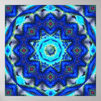 Mandala de cristal abstracta del caleidoscopio póster