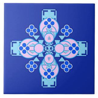 Mandala de cuatro puntos - orquídea, azul y azulejo cuadrado grande