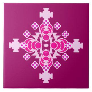 Mandala de cuatro puntos - palidezca - rosa y azulejo cuadrado grande