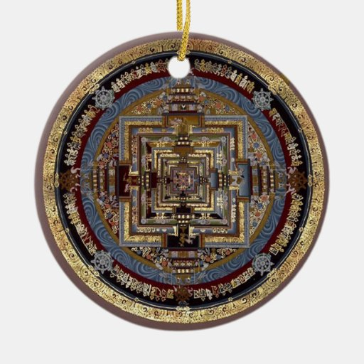 Mandala de Kalachakra un ornamento Adorno Redondo De Cerámica