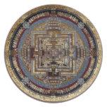 Mandala de Kalachakra una placa Plato Para Fiesta