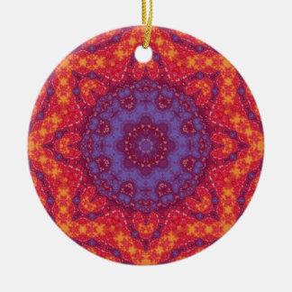 Mandala de la acuarela de la puesta del sol del adorno navideño redondo de cerámica