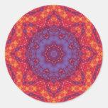 Mandala de la acuarela de la puesta del sol del etiquetas redondas