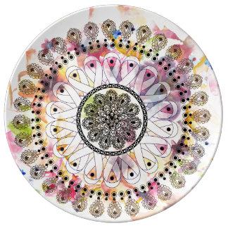 Mandala de la acuarela platos de cerámica