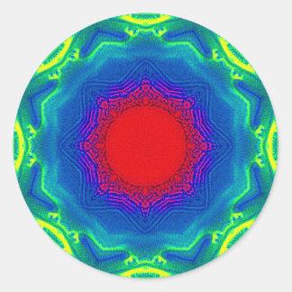 Mandala de la arena pegatina redonda