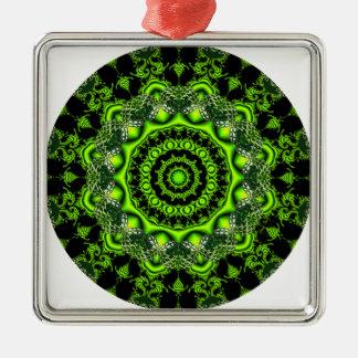 Mandala de la bóveda del bosque, maderas verdes adorno navideño cuadrado de metal