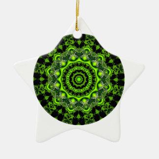 Mandala de la bóveda del bosque, maderas verdes adorno navideño de cerámica en forma de estrella