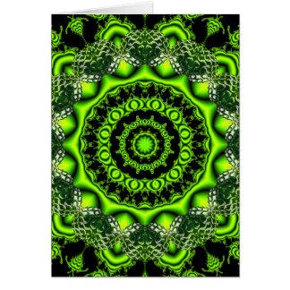 Mandala de la bóveda del bosque, maderas verdes tarjeta de felicitación