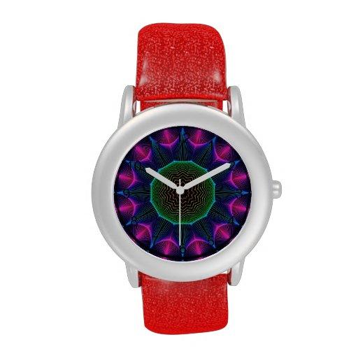 Mandala de la energía del ángel, magenta abstracta relojes de mano