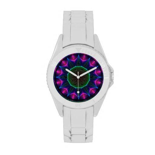 Mandala de la energía del ángel, magenta abstracta reloj