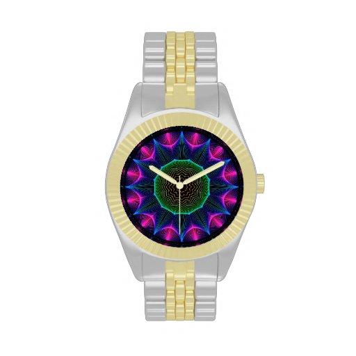Mandala de la energía del ángel, magenta abstracta relojes