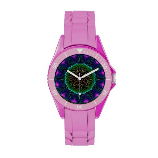 Mandala de la energía del ángel, magenta abstracta relojes de pulsera