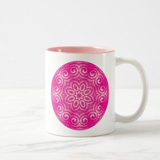 Mandala de la energía - rosa taza de dos tonos