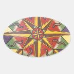 Mandala de la estrella de la protección pegatina ovalada